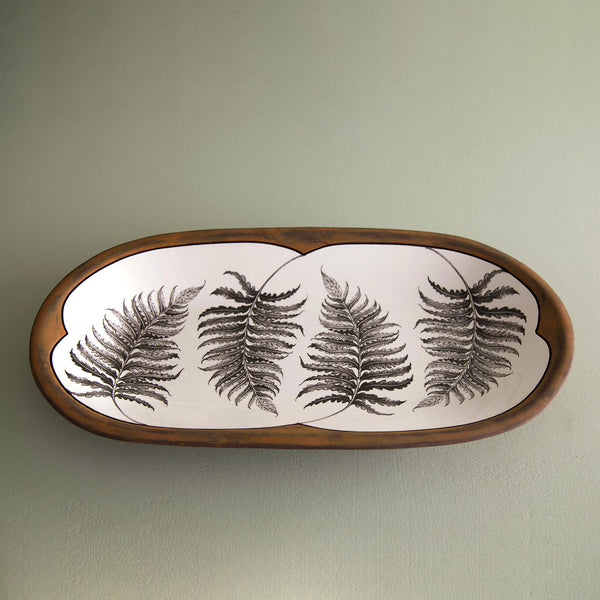 Handmade Rectangular Serving Dish / Wood Fern