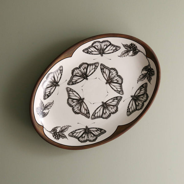 Handmade Small Oval Platter/ Monarch Butterfly