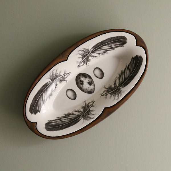 Handmade Oblong Serving Dish/ Quail Feather