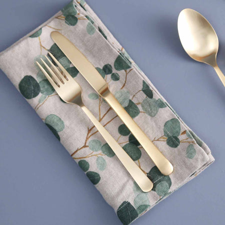 Eucalyptus on Natural Linen Napkins / 4pc