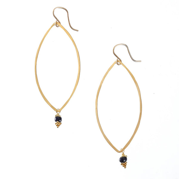 Blue Sapphire Bead Lotus Earrings / 18k Gold Vermeil
