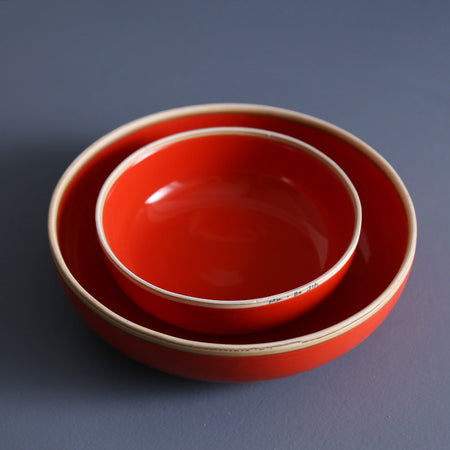 Coral Red Soup Bowl
