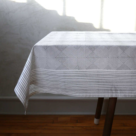 Aztec Grid Block Print Tablecloth