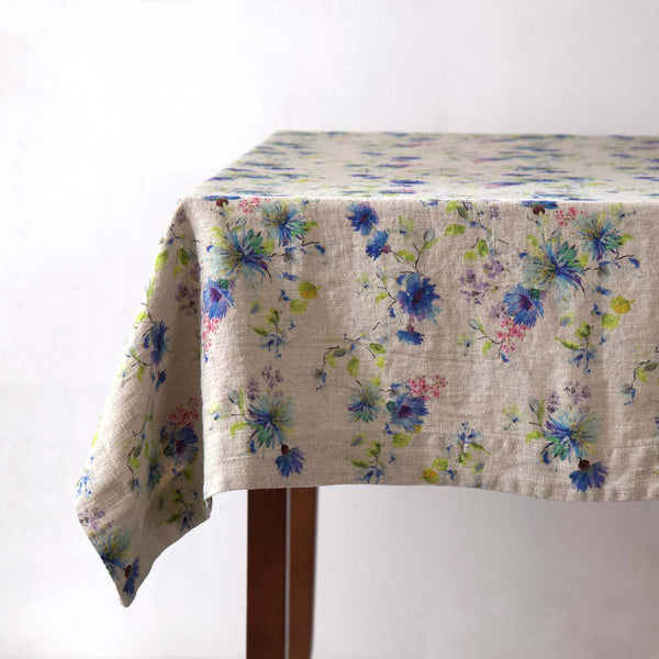 Floral on Natural Linen Tablecloth