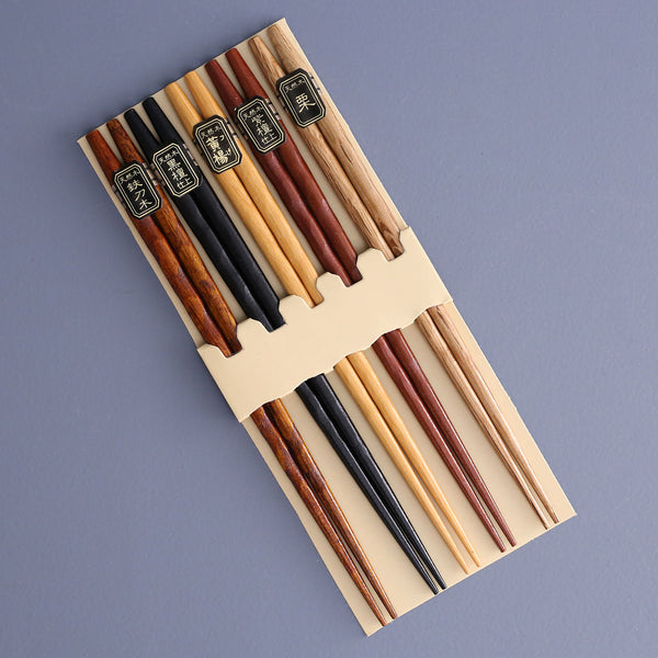 Ridged Wood Chopsticks / Set of 5 Pair Assorted