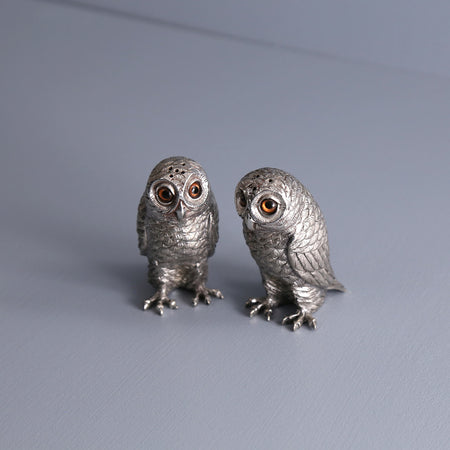 Pewter Salt & Pepper Shakers / Owls