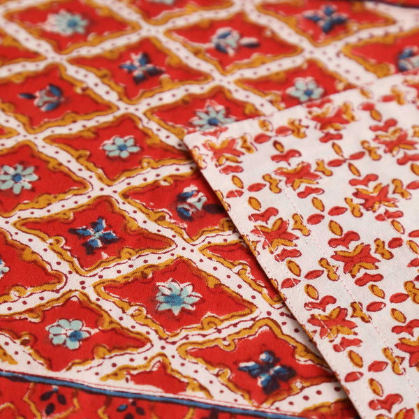 Qila Red Diamond Block Print Runner
