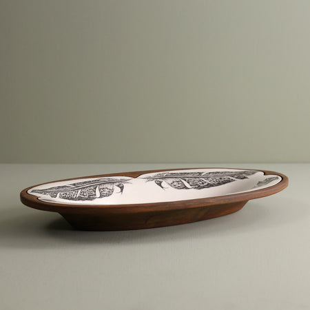 Handmade Oblong Serving Dish / Pheasant Feather