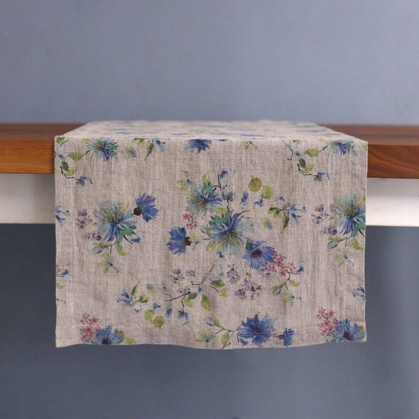 Floral on Natural Linen Table Runner