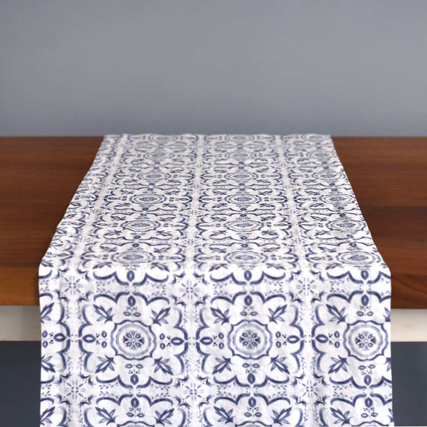 Blue Mosaic Linen Table Runner