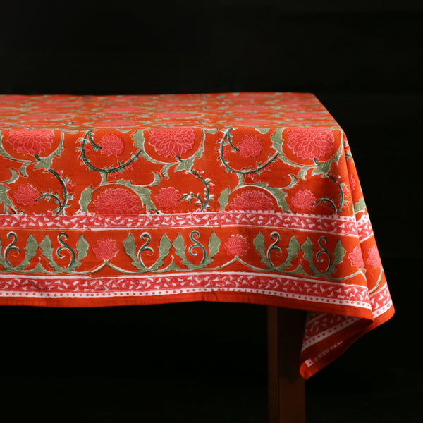 Sakha Red Block Print Tablecloth