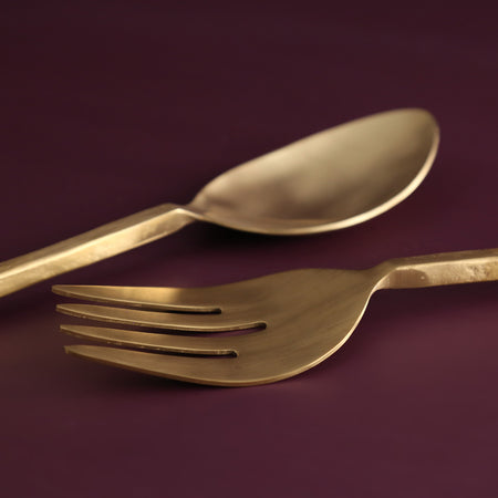 Forged Gold Salad Server Set / Hammered