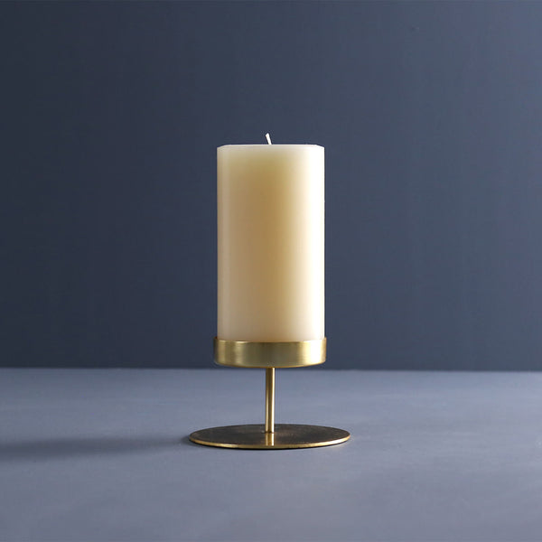 Gold Pillar Candle Holder / Short