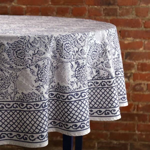 Sindh Slate Block Print Round Tablecloth