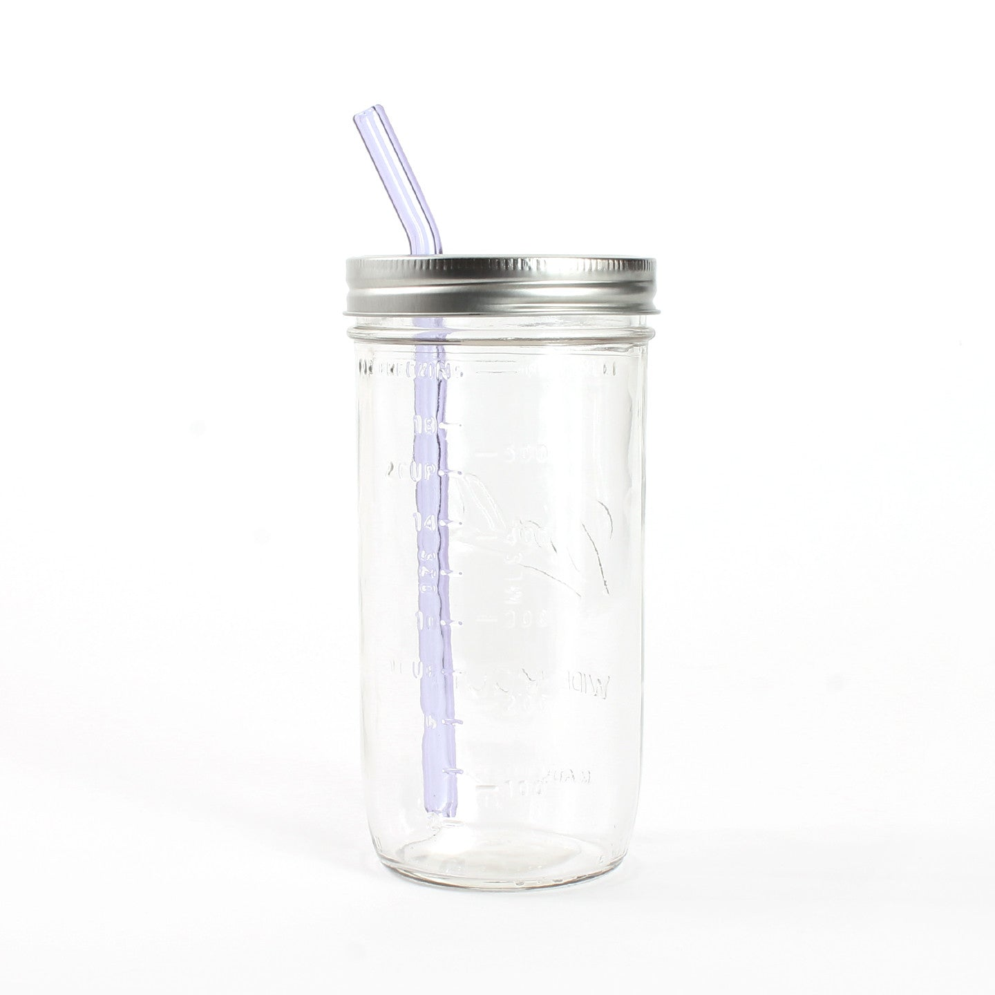Glass Straw Mason Jar Sipper Clear 24oz Jar One Mercantile