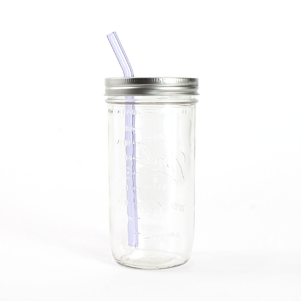 Glass Straw Mason Jar Sipper / 24oz Jar
