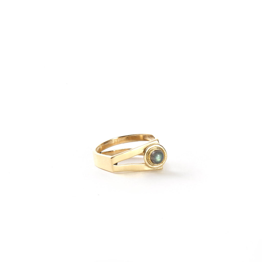 Split Bar Ring / Brass & Labradorite