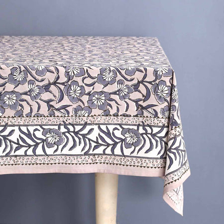 Avars Taupe Block Print Rectangle Tablecloths