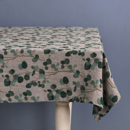 Eucalyptus on Natural Linen Tablecloth