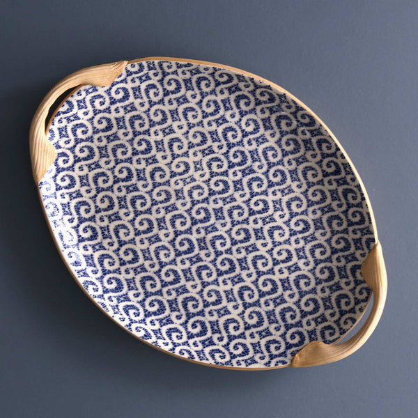 Handled Small Oval Serving Platter / Marrakesh / Cobalt