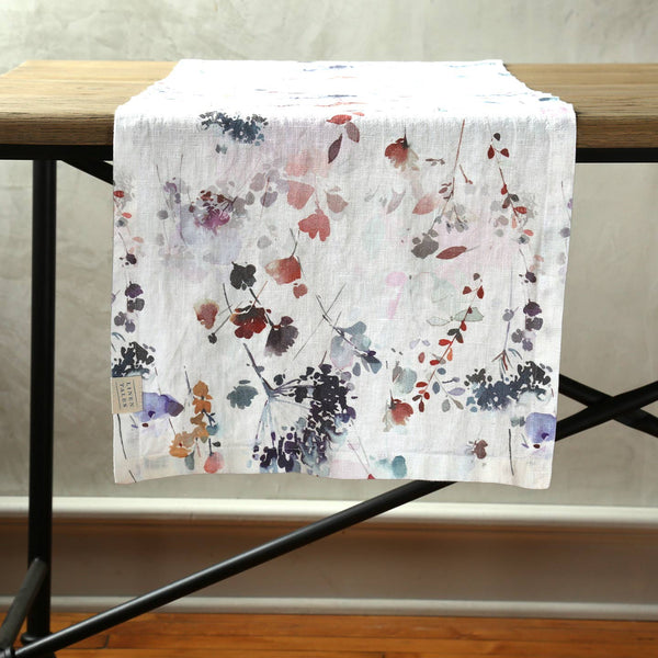Watercolor Linen Table Runner