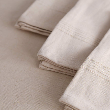 Hand-Woven Heavyweight Cotton Dinner Napkins / 4pc Whipped Cream