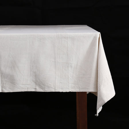 Hand Woven Heavyweight Cotton Table Cloth / Whipped Cream