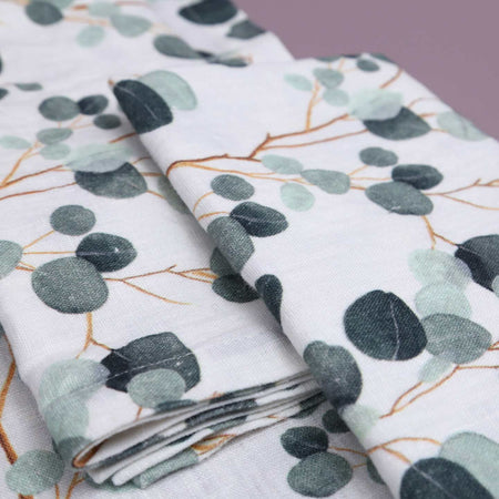 Eucalyptus on White Linen Napkins / 4pc