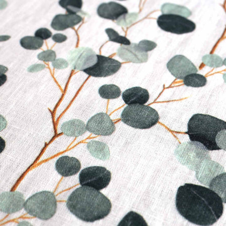 Eucalyptus on White Linen Table Runner