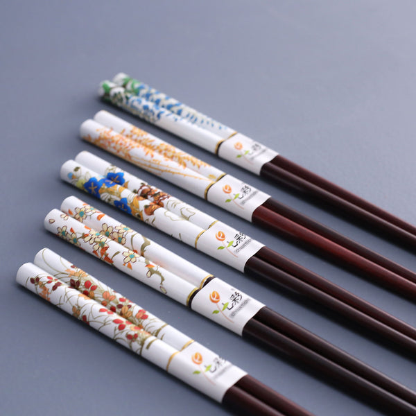 White Flower Chopsticks / Set of 5 Pair Assorted