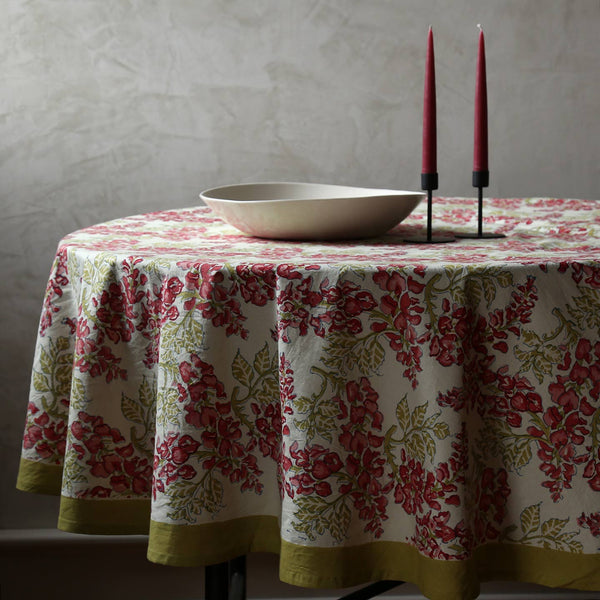 Wisteria Green & Pink Block Print Round Tablecloth 70""