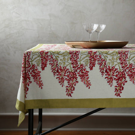 Wisteria Green & Pink Block Print Rectangle Tablecloths
