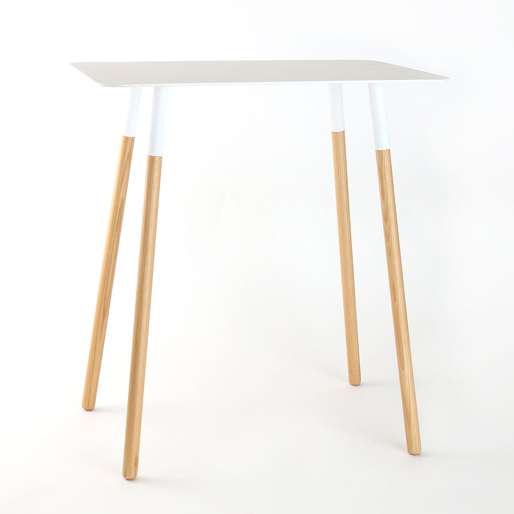 White Steel Side Tables w/ Wooden Legs / Rectangle