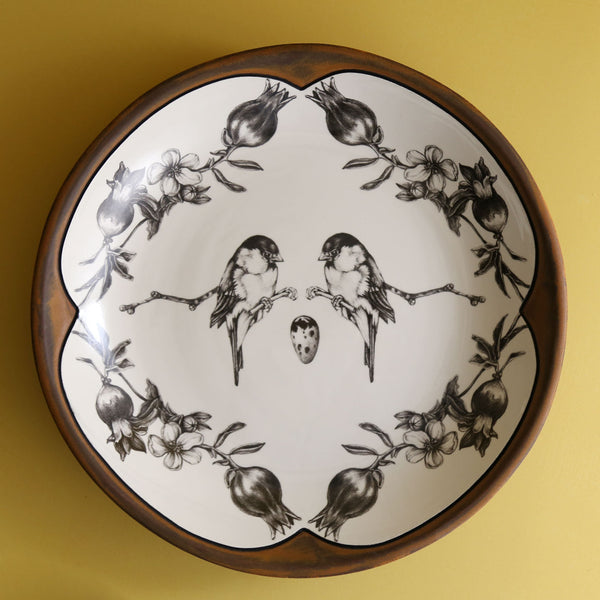Handmade Small Round Platter / Black-Capped Chickadee