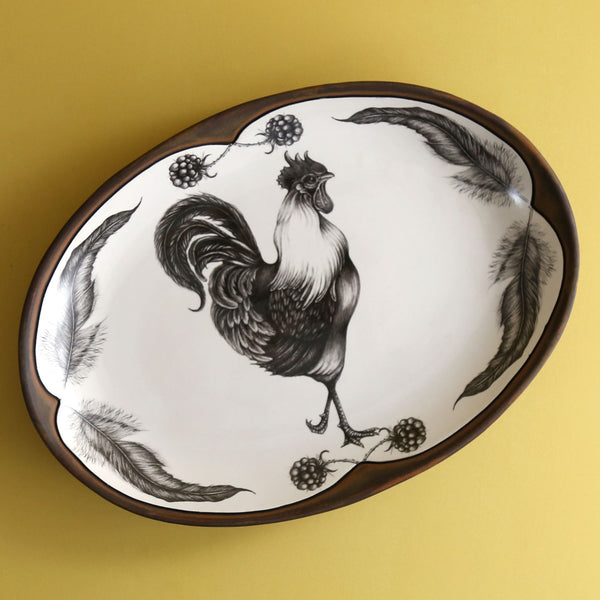 Handmade Small Oval Platter / Rooster