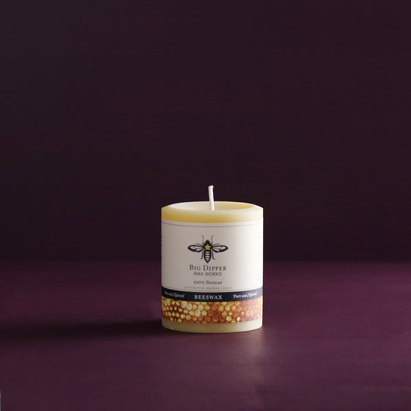 Big Dipper Beeswax Pillar Candle / Short Wide Natural