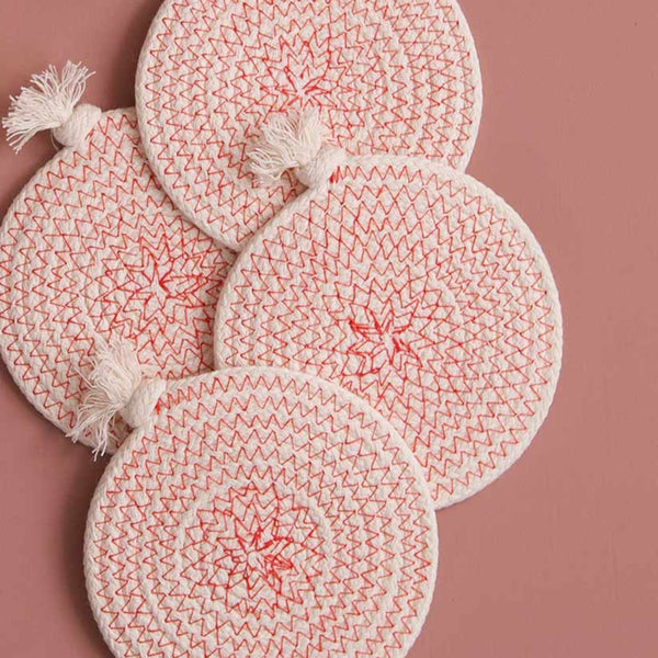 Cotton Rope Coaster Set w/Tray / Flame
