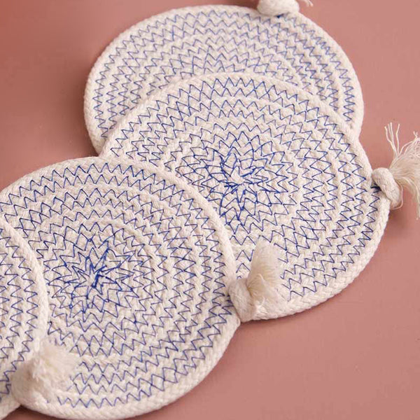 Cotton Rope Coaster Set w/Tray / Blue