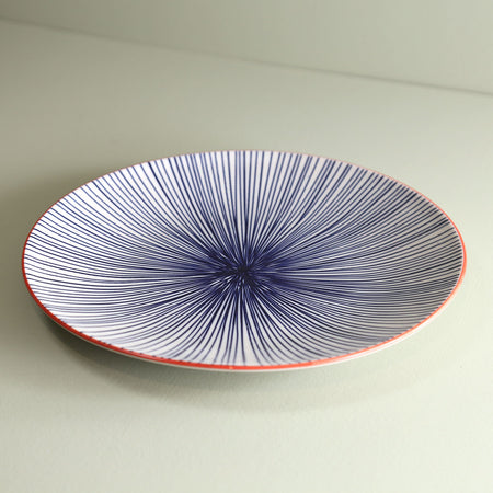TUE Pattern Dinner Plate /  Blue Lines