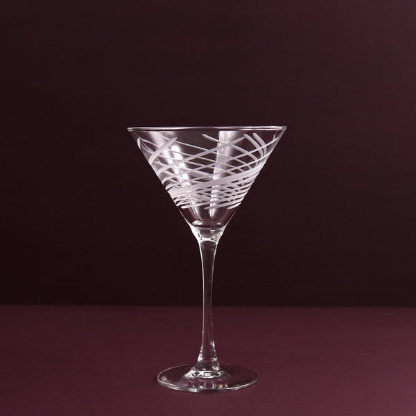 Cyclone Etched Martini Glass