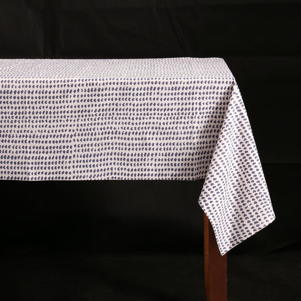 Block Print Tablecloth / Charcoal Dot