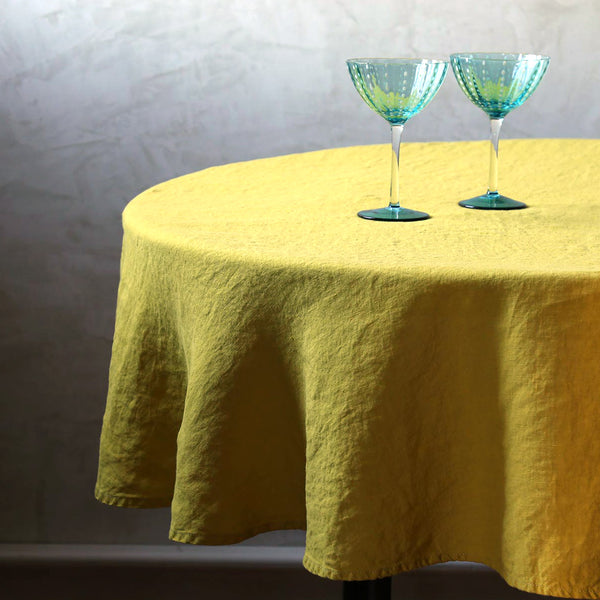 "Stonewashed Linen Tablecloth / 65"" Round Citrine"