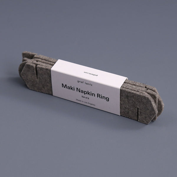 Maki Felt Napkin Ring Set / Granite