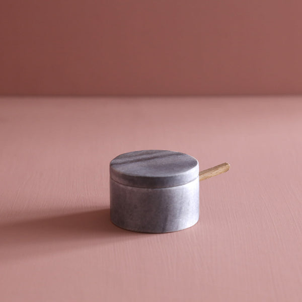Grey Marble Lidded Salt Cellar w/ Wooden Spoon