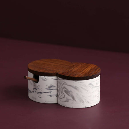 Interlocking Salt Cellar w/ Lid & Spoon / Marbled