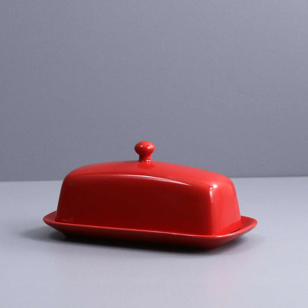 Ceramic Butter Dish / Red