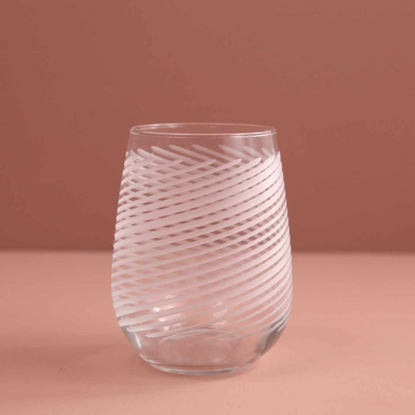 Cyclone Etched Stemless Wine Glass