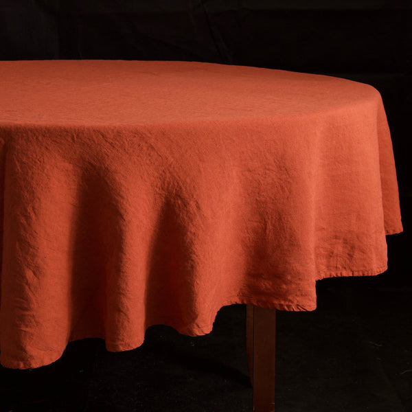"Stonewashed Linen Tablecloth / 65"" Round Brick"