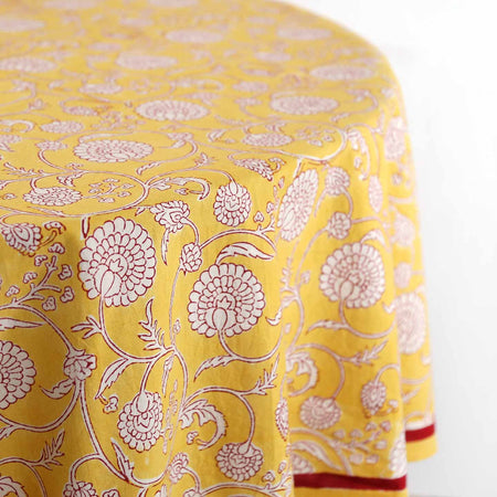 Burg Yellow Block Print Round Tablecloth