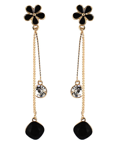 le petite princess kids black daisy drop clip on earrings